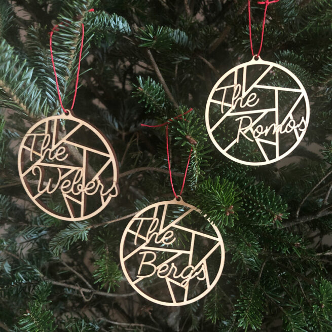 Collection of three laser cut ornaments