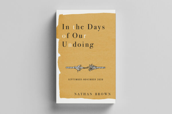 In the Days of Our Undoing: book cover with a golden yellow watercolor wash and typography