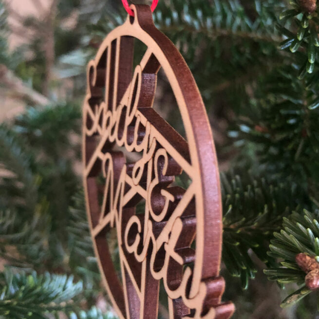 Side view of laser cut wood ornament